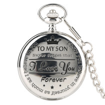 New Pattern Pocket Watch for Man, Love You Forever Typeface Pocket Watches for Boy, Silvery Quartz Pocket Watch Chain for Male