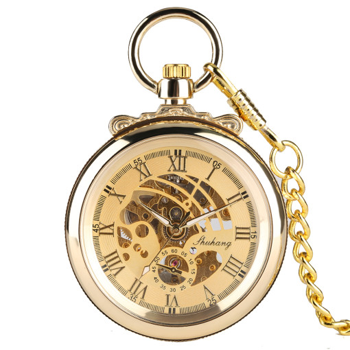 Golden Men's Pocket Watch, Simple and Fashionable Mechanical Pocket Watch for Men, Roman Numerals Pocket Watch for Boy