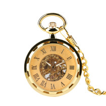 Gold Cover Mechanical Pocket Watch for Men, Classic Pocket Watches for Boyfriends, Delicate Carved Men's Pocket Watch for Father