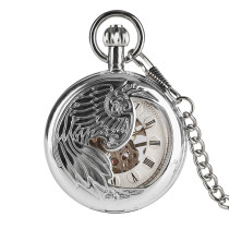 Mechanical Core Pocket Watch for Men, Silver Feather Carving Pocket Watches for boy, Silver Dial Thick Chain Men's Pocket Watch