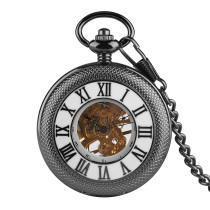 Black Reticulated Case with Roman Numerals for Men's Pocket Watch, Golden Skeleton for Men's Mechanical Movement Pocket Watches, Hollow Back Carved Exquisite Pocket Watch for Boys