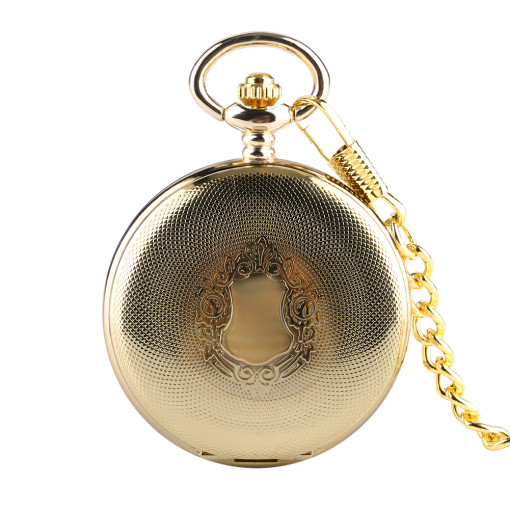 Men's Mechanical Pocket Watch, Golden Reticulated Shell Pocket Watch for Men, Classic Fashion Rough Chain Pocket Watches for Boy