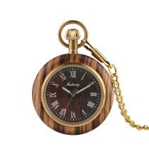 Mottled Arabian Roman Digital Pocket Watch for Men, Wooden Case Japanese Quartz Sport Men's Pocket Watch, Classic Luxurious Coffee Colored Wooden Pocket Watches for Boys