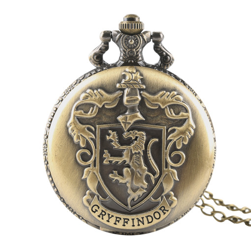 Gryffindor's Carved Pocket Watch for Men, Bronze Quartz Core Pocket Watches for Boys, White Dial Roman Digital Men's Pocket Watch