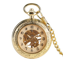 Hand Operated Mechanical Pocket Watch for Gentleman, Unique and Dlicate Gold Pocket Watchers for Boy, Double Sided Pattern Carved Male Pocket Watch for Teenagers