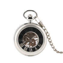 Silver Reticulated Case with Roman Numerals for Men's Pocket Watch, Skeleton Mechanical Movement Pocket Watch for Men, Hollow Back Carved Exquisite Pocket Watches for Boys