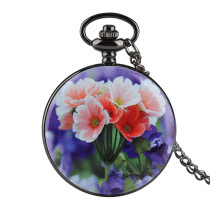 Flower Pattern Case Pocket Watch for Men and Women, Quartz Pocket Watch Core Facial Expression Couple, Elegant White Dial Fashionable Pocket Watches for Young People