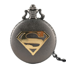 Men's Pocket Watch, Vintage Superman Gold  S  Design Original Black Quartz Pocket Watch, Gifts for Men