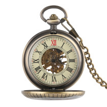Alloy Material Pocket Watch for Man, Hollowed Round Surface Pocket Watch for Boy, Mechanics Pocket Watch for Male