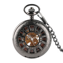Antique Luxury Brand Necklace Mens Pocket Watch, Black Steampunk Skeleton Mechanical Pocket Watch for Men, Male Clock Pocket Watches for Boy