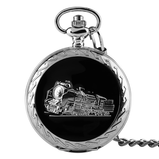 Men's Pocket Watch, Funny Vintage Quartz Silver Drop Black Oil Train Head Thickening Pocket Watch, Gifts for Men
