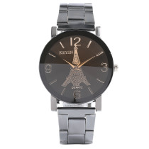 Men's Watch, Black Steel Metal Band Eiffel Tower Pattern Dial Watch For Men Women, Quartz Wrist Watch