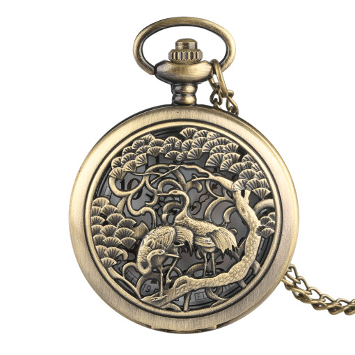 Ostrich Pattern Carved Pocket Watch for Boys, Ancient Bronze Classic Pocket Watch for Men, Quartz Sports Pocket Watches Exquisite Gifts for Fathers
