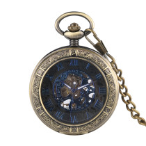 Ancient Bronze Engraved Pocket Watch for Men, Men's Mechanical Movement of the Pocket Watch, Blue Roman Digital Dial Pocket Watches for Boys