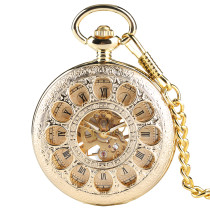 Mechanical Pocket Watch for Men, Carved Roman Digital Pocket Watches for Gentleman, Golden Classical Elegant Pocket Watches for Boy