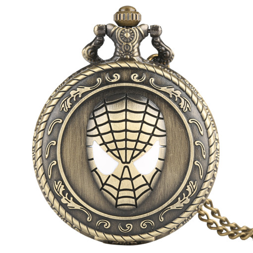 Spiderman Face Pattern Pocket Watch for Men, Men's Quartz Movement Pocket Watch, Ancient Bronze Classic Pocket Watch for Boys