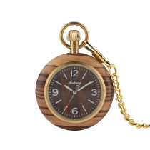 Bamboo Wood Watch Case Pocket Watch for Man, Quartz Pocket Watches for Boy, Man's Classic Pocket Watch