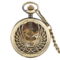 Classical Bronze Pocket Watch for Men, Men's Skeleton Mechanical Pocket Watch, Delicately Carved Watches for Boys