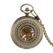 Men's Bronze Carved Pocket Watch, Mechanical Movement Pocket Watch for Boy, Golden Frame Hollow Roman Numeral Pocket Watches for Men