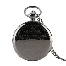Fashion Black Men's Pocket Watch, Quartz Movement Pocket Watch for Men, Smooth Surface Pocket Watches for Boy
