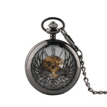 Men's Antique Mechanical Pocket Watch, Man's Pocket Watches with Phoenix Carving Creative Case, Unique Pocket Watch with White Dial and Black Roman Numerals