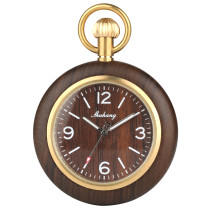 Bamboo Wood Quartz Pocket Watch for Men and Women, Arab and Roman Digital Wooden Box Pocket Watches for People, Sport Men and Women's Pocket Watch Luxury Wood