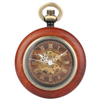 Classical Men's Pocket Watch, Mechanical Pocket Watch for Men, Wooden Case Pocket Watch for Boy