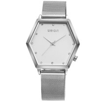 Stainless Steel Watch for Women, Luxury Quartz Glass Alloy Band Wrist Watch, Irregular Shape Wristband Gift for Men