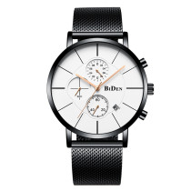 BIDEN Luxury Brand Fashion Men Quartz Watch, Casual Stainless Steel Mesh Band Waterproof Wristwatch, Business Clock for Men Watch New