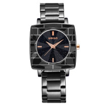 Rectangle Leisure Watch for Women, Black Stainless Steel Quartz Glass Wrist Watch, Alloy Wristband for Female