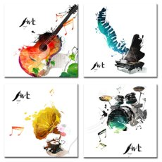 Amosi Art-4 Pieces Canvas Wall Art Guitar Piano Phonograph and Drum Set Four Kinds of Classical Music Instruments Picture Music Painting Giclee Art for Home Decor Framed Ready to Hang