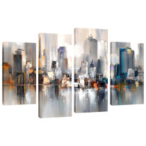 Amosi Art-Abstract Canvas Painting New York Colorful City Bklyn Brdg Landscape Picture Printed on Canvas Giclee Artwork Stretched and Framed Wall Art For Home living room Decor