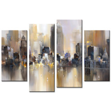 Amosi Art-Abstract Canvas Painting New York Colorful City Bklyn Brdg  Landscape Picture Printed on Canvas Giclee Artwork Stretched and Framed Wall Art For Home Decor Ready to Hang
