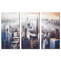 Amosi Art-Abstract Canvas Painting New York Colorful City Landscape Picture Printed on Canvas Giclee Artwork Stretched and Framed 3 Panels