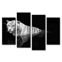 Amosi Art-Canvas Wall Art Black White Tiger In Water Painting Animal Picture Printed on Canvas Giclee Artwork Stretched and Framed Wall Art For Living Room Home Decor 4 Panels
