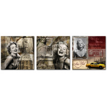 Amosi Art-Creative Marilyn Monroe Picture Painting on Canvas Print with Stretch Framed Modern Home Decorations 3 Panels