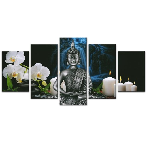 Amosi Art-Buddha Canvas Wall Art Orchid Flower and Candles Picture Prints on Canvas for Living Room Decor Artwork with Stretch Frame