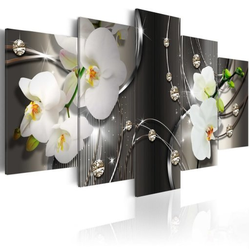 Amosi Art-White Orchid Flowers Contemporary Canvas Print Art Vivid Floral Diamond Painting Modern Picture Wall Decor HD Fashion Artwork Framed and Stretched