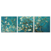 Amosi Art-3 Panels Canvas Wall Art Almond Blossoms Van Gogh Painting Modern Art Canvas Prints for Home Living Room Decor Stretched by Framed Ready to Hang