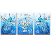 Amosi Art-Wall Art Canvas Printings 3D Peacock Animal Canvas and Blue Vivid Plum Blossom of vase Picture Print on Canvas Stretched Artwork for Home or Office Decoration