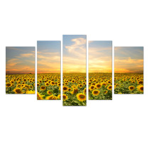 Amosi Art-5 Panels Canvas Wall Art Landscape Painting Sunflower Picture Printed On Canvas Painting Decorative Artwork For Home Living Room Decor Stretched and Framed Ready to Hang