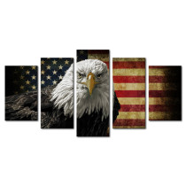 Amosi Art-5 Piece American Flag Eagle Hawk Decorative Wall Art Oil Painting on Canvas Modern Artwork Stretched and Framed for Home Bedroom Living Room Office Decor and housewarming gift