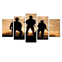 Amosi Art-Modern Canvas Painting American Soldiers Picture Printing On Canvas with Stretched and Framed  For interior decoration