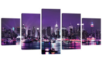 Amosi Art-5 Panels Wall Art Purple Night View of American Cities Canvas Painting for Home Living room decor