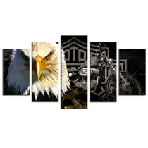 Amosi Art-5 Panels Wall Art Bald eagle with Hamlet motorcycle Background Canvas Printings for Home Decoration