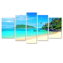 Amosi Art-5 Panels Wall Art Philippine Coconut Island scenery Canvas Painting For Home Living Room Decoration
