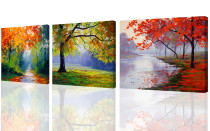 Amosi Art-Canvas Printings 3 panel Wall Art Maples Trees oil Paintings Printed Pictures Stretched for Home Decoration