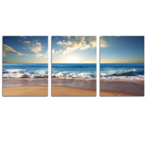 Amosi Art-3 panel Wall Art A blue sky, sea, beach, beach and sea view of  Pictures printed on canvas  for Home Decoration