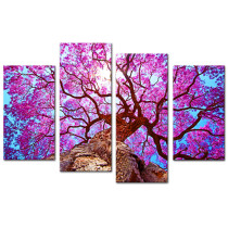 Amosi Art-Canvas Printings 4 panel Wall Art Purple old tree Printed Pictures Stretched for Home Decoration