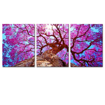 Amosi Art-Canvas Printings 3 panel Wall Art Purple old tree Printed Pictures Stretched for Home Decoration